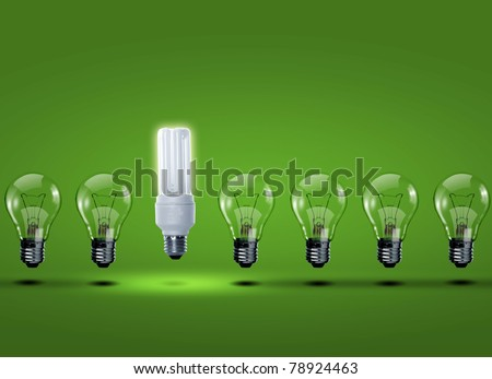 row of light bulbs with one different from the others