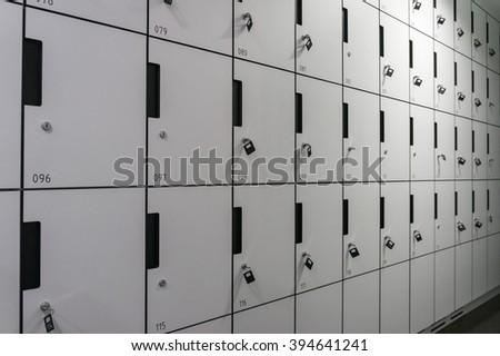 row of locker box - stainless steel - stock photo