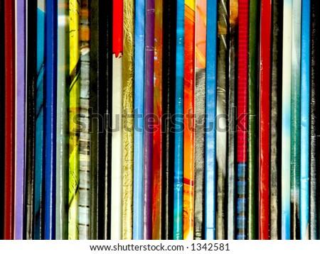 Row of magazines closeup - stock photo