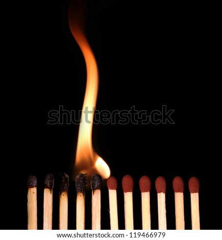 Row of matches starts buring, on black background - stock photo