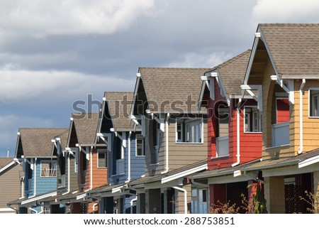 Row of modern houses in Vancouver BC, Canada - stock photo