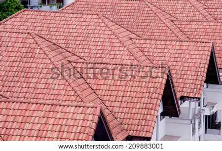 Row of modern townhouses in Vancouver,roof - stock photo