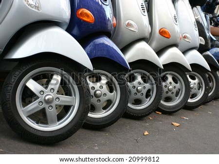 Row of motorcycles on the street - stock photo