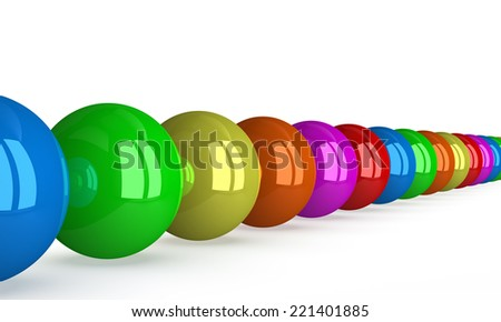 Row of multicolored shiny balls isolated on white, perspective view - stock photo