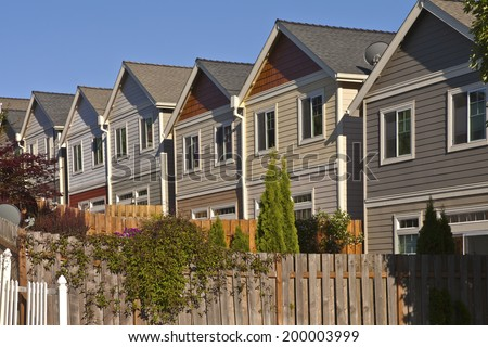 Row of neighborhood houses Gresham Oregon. - stock photo
