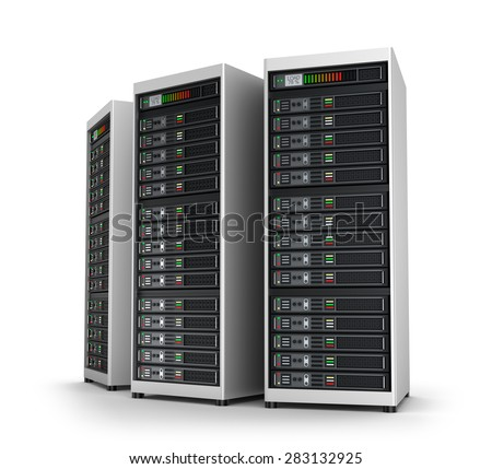 Row of network servers in data center isolated on white - stock photo