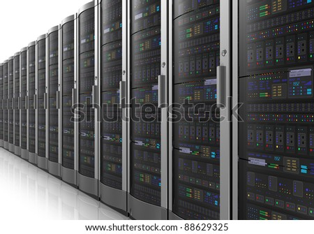 Row of network servers in datacenter room isolated on white reflective background - stock photo