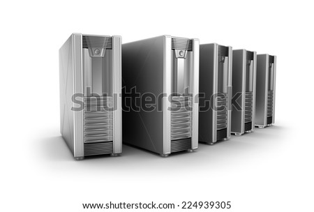 Row of network servers over white