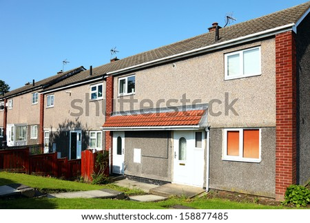 row of new  houses  on a housing development.uk - stock photo