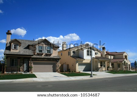 Row of Newly Constructed Homes - stock photo