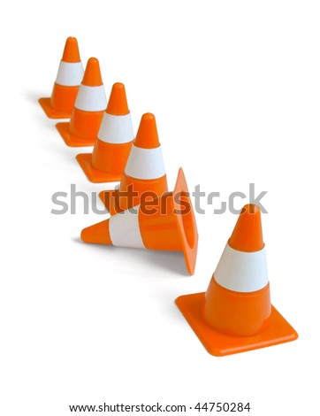 Row of orange plastic traffic cones isolated on white