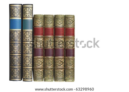 row of ornamented vintage books, isolated on white background - stock photo