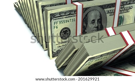 Row of packs of dollars. Lots of cash money - stock photo