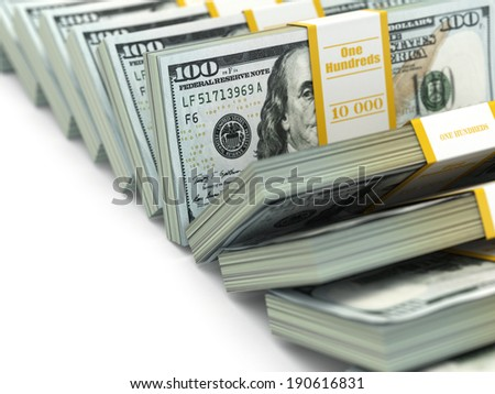 Row of packs of dollars. Lots of cash money. 3d - stock photo
