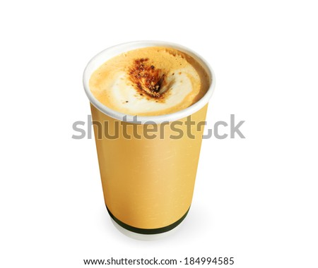 row of paper coffee cups on a white background  - stock photo