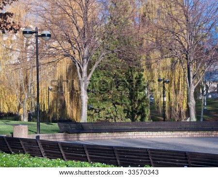 Row of park benches in a meeting plaza surrounded by trees in late autumn or early winter - stock photo