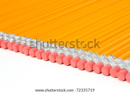 Row of Pencils with Erasers Isolated with White Background