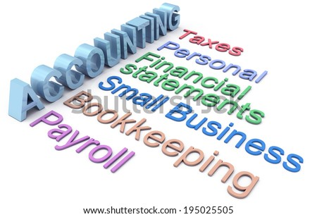 Row of personal and small business accounting services - stock photo