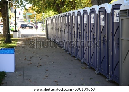 Captivating Row Of Portable Toilets On A Denver City Street On October 15 2016