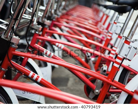 Row of public bicycles in Barcelona, Spain - stock photo