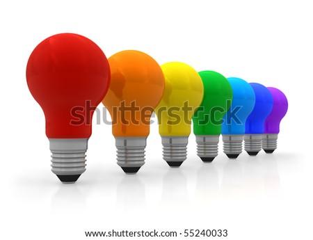 Row of rainbow lightbulbs - stock photo