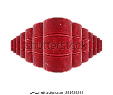 Row of red color steel oil barrels, isolated against white.   - stock photo