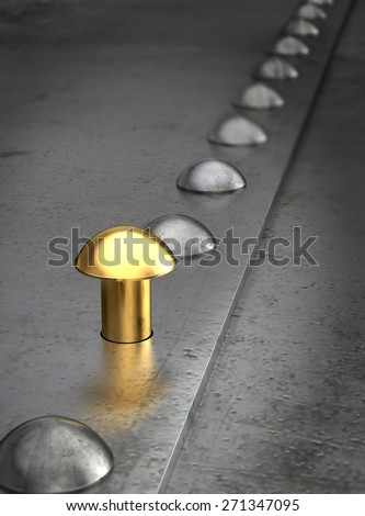 Row of rivets on the metal grunge background. One golden rivet in the row. Leadership concept. - stock photo