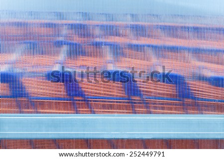 Row of shopping carts in the parking lot - stock photo