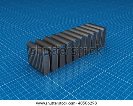 Row of silver servers - stock photo