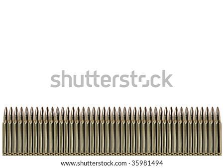 Row of single bullets - stock photo