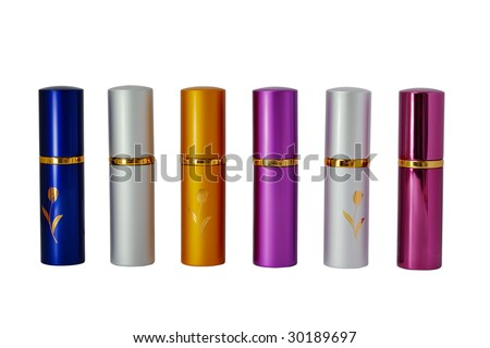 Row of six perfume vaporizers - stock photo