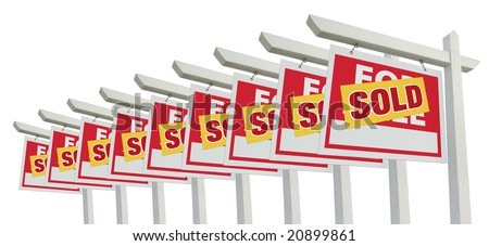 Row of Sold Home For Sale Real Estate Signs Isolated on a White Background.