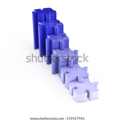 Row of some blue ascending jigsaw puzzle pieces