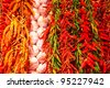 Row of spices in a fruit market - stock photo