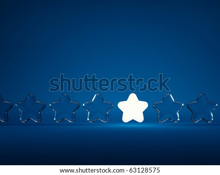 Row of stars with light isolated on blue background