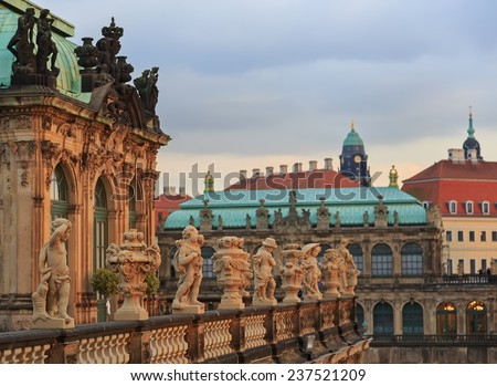 Row of statues  at Zwinger palace in Dresden, Germany