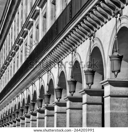 Row of street lamp at Rivoli Street in Paris, France in Black and white. - stock photo