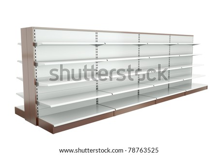 Row of supermarket shelves. 3D render. - stock photo