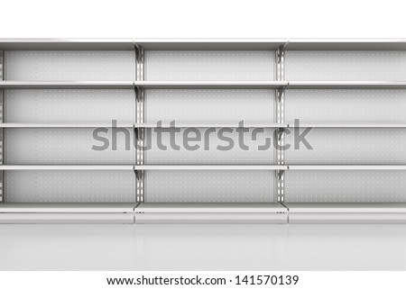 row of supermarket shelves render from front on white. 3d - stock photo