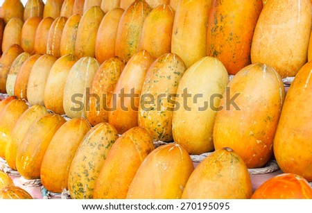 row of thai cantaloupe melon - stock photo