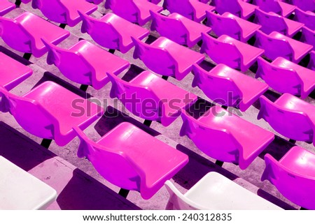 Row of the plastic chair in football stadium - stock photo