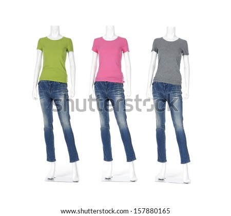 Row of three female mannequin with t- shirt dressed in jeans - stock photo
