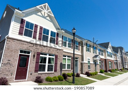 Row of town homes - stock photo