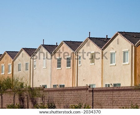 Row of track houses in the suburbs of Las vegas - stock photo