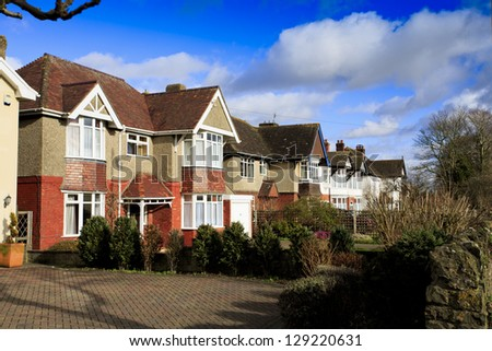 Row of traditional detached houses in Swindon, UK - stock photo