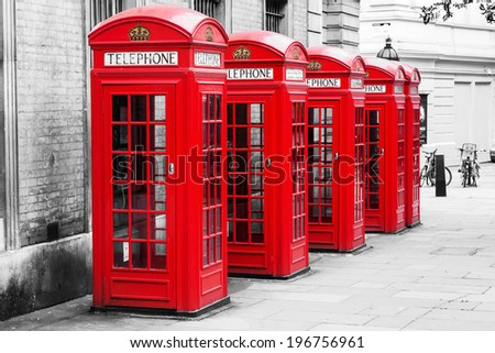 row of traditional phone boxes in London city in a chroma key processing - stock photo