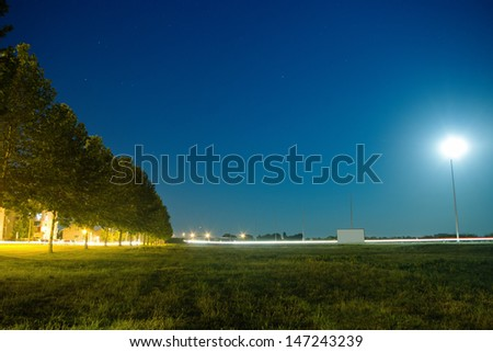 Row of trees by the road at night illuminated by the moon. - stock photo