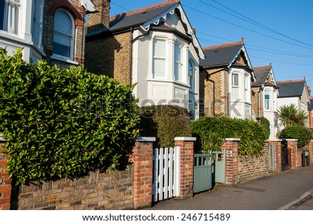 Row of Typical English Houses in London