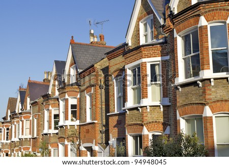 Row of Typical English Houses in Richmond London - stock photo