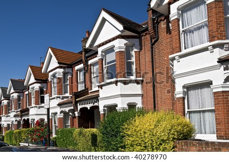 Row of Typical English Terraced Houses at London. - stock photo